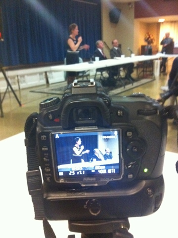 Recording County Executive debate, photo by multimedia journalist and environment reporter Pamela Wood.