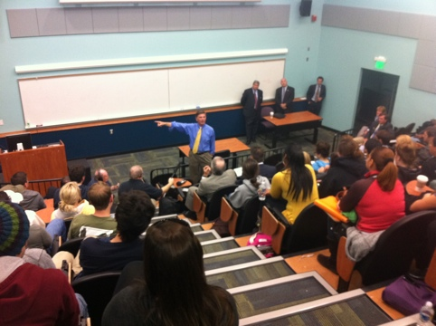 Former Gov. Robert L. Ehrlich lectures at Towson University, photo by multimedia journalist and environment reporter Pamela Wood.