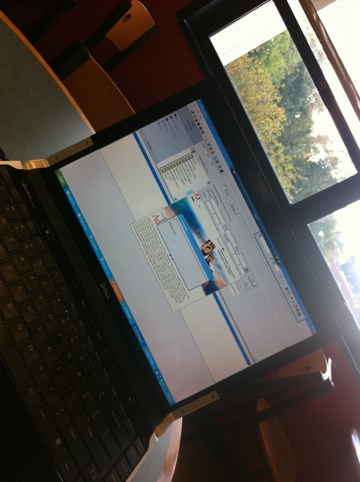 Laptop set up at the Towson Library, photo by multimedia journalist and environment reporter Pamela Wood.