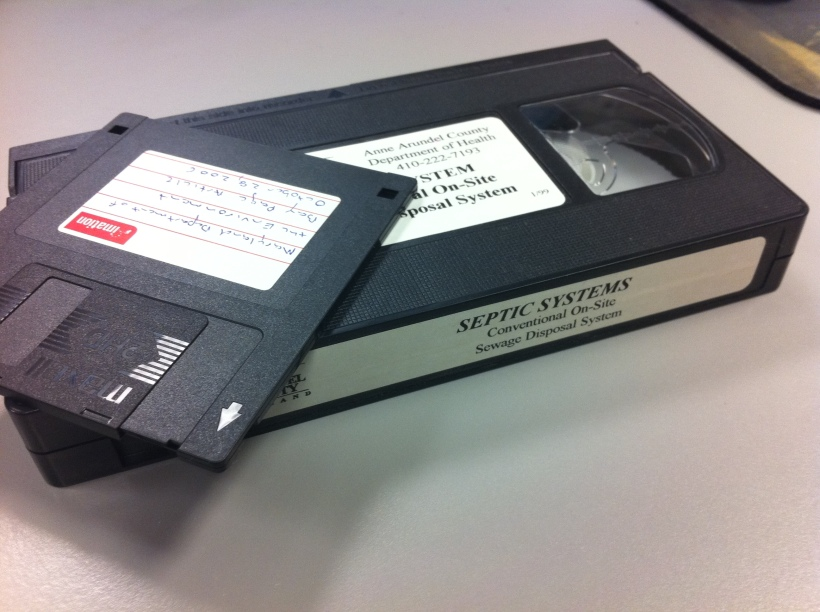 Old-school floppy disk and a VHS tape, photo by multimedia journalist and environment reporter Pamela Wood.