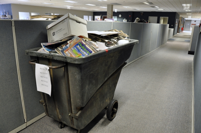 Recycling bin full of newsroom trash, photo by multimedia journalist and environment reporter Pamela Wood.
