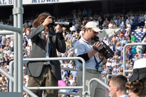 Photographers Joshua McKerrow and Paul W. Gillespie at Naval Academy commissioning, photo by multimedia journalist and environment reporter Pamela Wood.