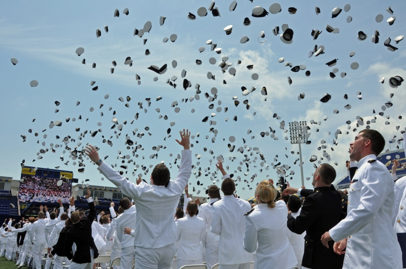 Hat toss at Naval Academy commissioning, photo by multimedia journalist and environment reporter Pamela Wood.