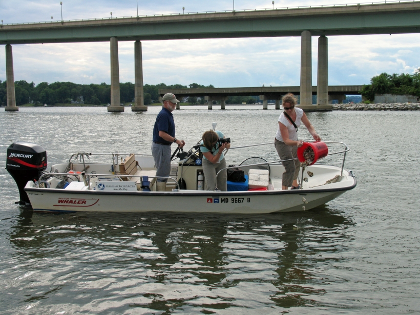 Photo of multimedia journalist and environment reporter Pamela Wood on the Severn River.