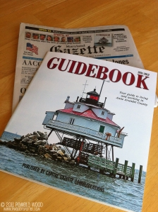 The Capital-Gazette Guidebook and the Maryland Gazette, photo by multimedia journalist and environment reporter Pamela Wood.