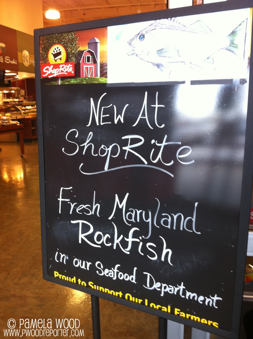 Grocery store sign promoting Maryland (Chesapeake Bay) rockfish, photo by multimedia journalist and environment reporter Pamela Wood.