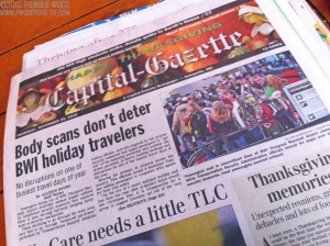 2010 Capital-Gazette Newspapers Thanksgiving holiday edition, photo by multimedia journalist and environment reporter Pamela Wood.