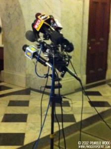 News microphones. Photo by multimedia journalist Pamela Wood