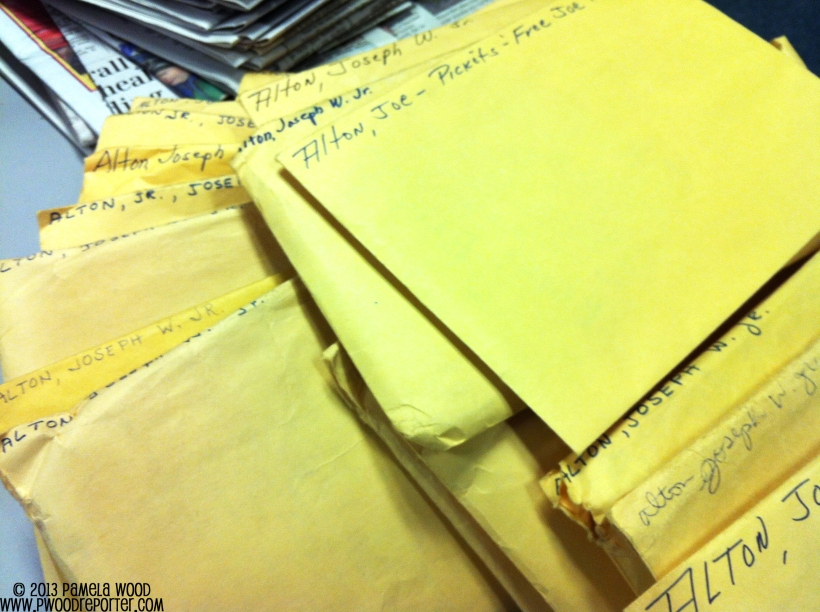 Envelopes full of newspaper clippings about Anne Arundel's first county executive, Joseph W. Alton Jr.