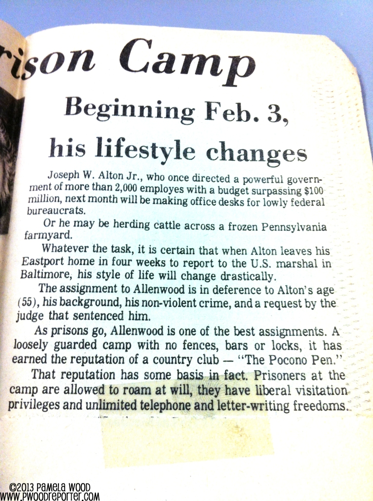 A 1974 story describing what a former county executive's life will be like behind bars. I wrote a similar story in 2013.