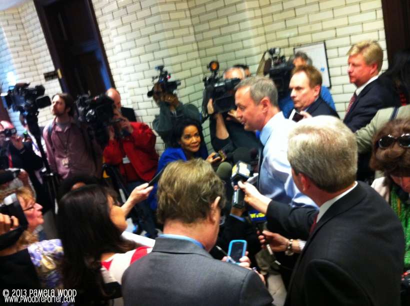 A quick iPhone photo of Gov. Martin O'Malley talking to reporters on Sine Die, the last day of the 90-day General Assembly session.