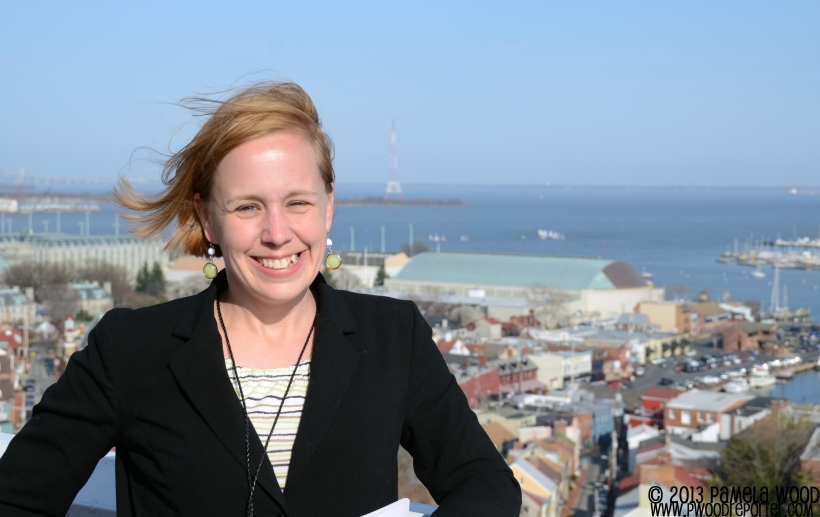 Atop the State House dome in Annapolis on Sine Die, 2013. Yes, it was windy! Thanks to Susan O'Brien for taking the photo.